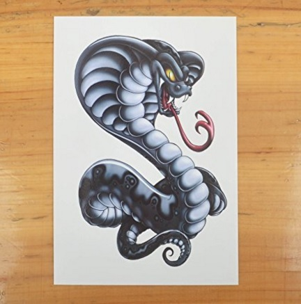 Cobra temporaneo tattoo snake
