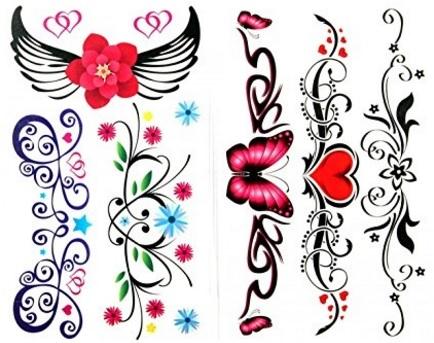 Tatuaggi fiori impermeabili e temporanei colorati