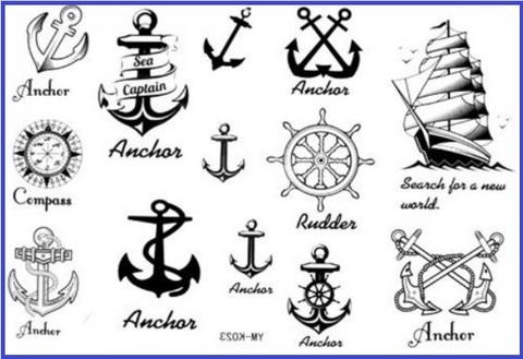 Tattoo temporanei ancora e pirati
