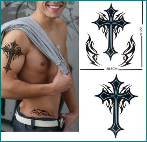 Tatuaggi temporanei croce grande per uomini