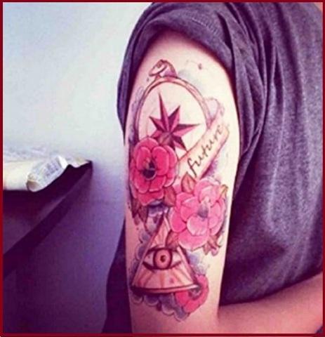 Tatuaggi temporanei grandi con fiori in stile