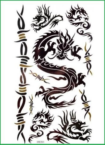 Tatuaggio temporaneo dragone tribale