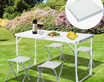 Tavoli campeggio pieghevoli con sedie