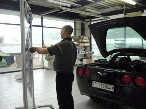 Corvette oscuramento vetri. 1 preparazione