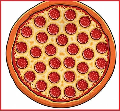 Asciugamano telo mare a forma di pizza in cotone