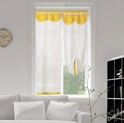 Tendine regolabili bianche e gialle per la casa