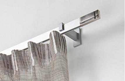 Bastone binario per tende in alluminio satinato completo