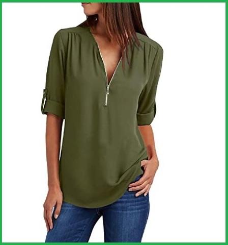 Camicetta da donna camicia con scollo a v con cerniera
