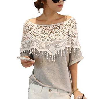 Crochet Cape Colletto In Pizzo T-shirt Camicetta - Donna