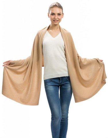 Sciarpa Vero Cashmere Colore Chiaro Cashmere Della Mongolia