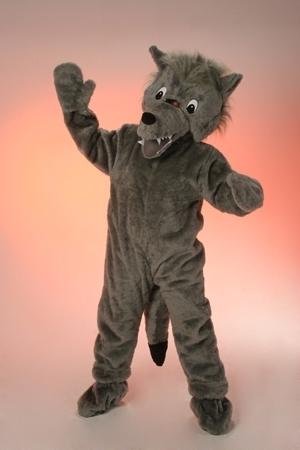 Costume peluche lupo mascotte gigante
