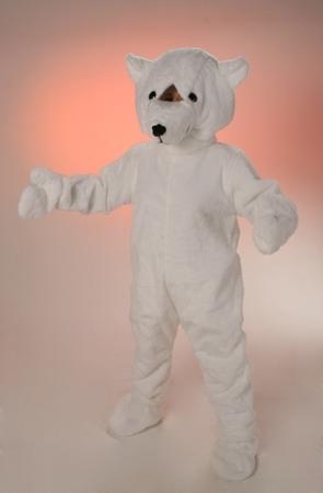 Costume peluche orso bianco mascotte gigante