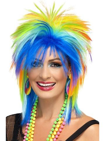 Parrucca anni '80 multicolore