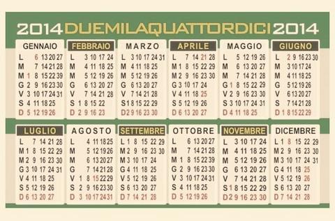 Calendario vettoriale mensile