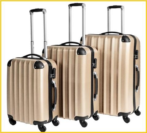 Set valigie rigide colore champagne