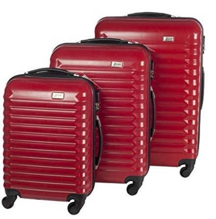 Set valigie dal colore rosso rigide in policarbonato
