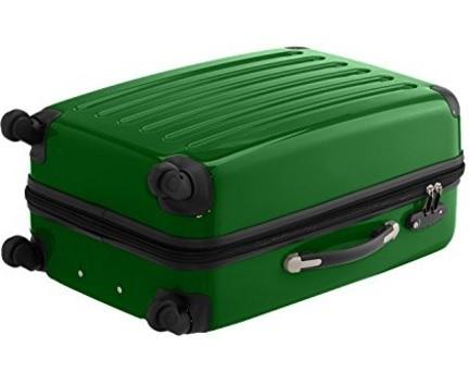 Coppia di valigie rigide moderne e verdi lucide