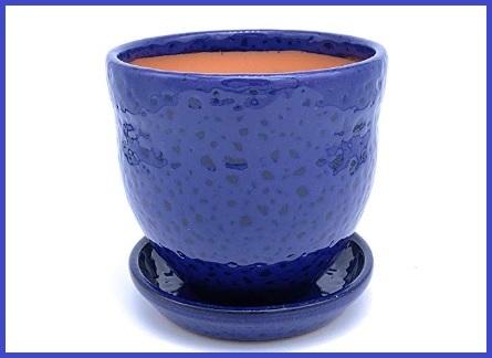 Vaso in ceramica con piattino