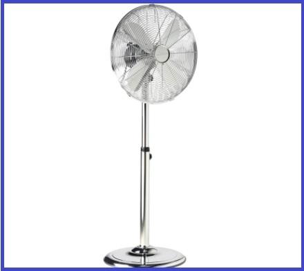 Ventilatore Piantana Cromato Con Telecomando