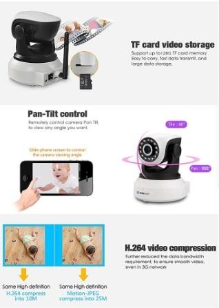 Videocamera wireless 360° con visore notturno