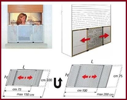 Zanzariera finestra estensibile e reversibile